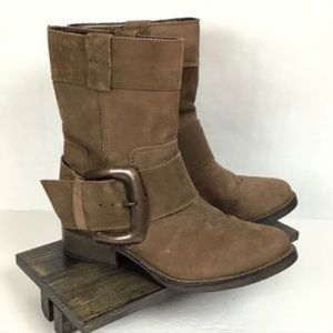 Betsy Johnson Brown Leather Ariss Buckle Boots 8.5